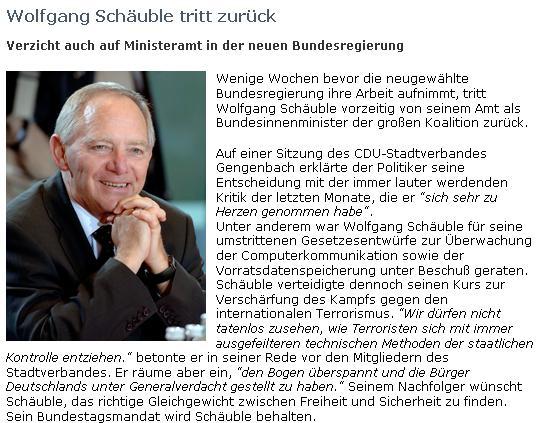 Wolfgang Schäuble tritt zurück