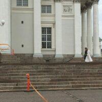 Dreharbeiten am Dom von Helsinki